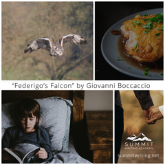 "Picture collage for ""Federigo's Falcon"" by Giovanni Boccaccio"